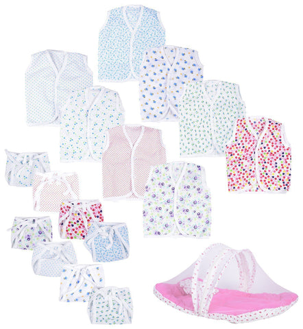Fareto New Born Baby Combo Of Baby Mosquito Net Bed And Baby Jhabla Pack Of 8 With 8 Single Layer Nappies(0-6 Months)