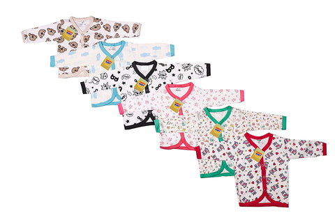 Fareto Baby Front Open Hosiery Cotton Full Sleeves Shirt(0-6 Months,L-12 Inchs, B-10Inchs)