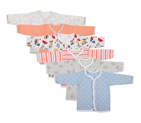 Fareto Baby Front Open Shirts Pack Of 6 In Multi Colours