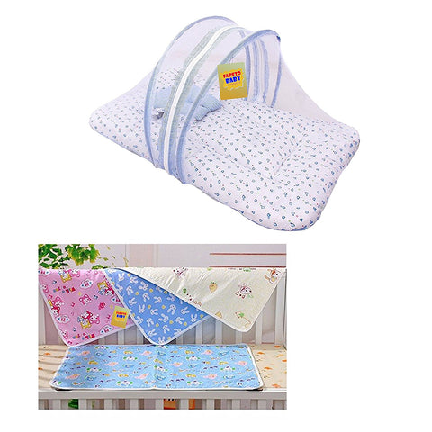 Fareto New Born Baby Gift Pack Combo Of Mosquito Net Bed And Plastic Changing Sheets With One Side Cotton(0-6 Months)