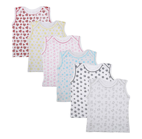 Fareto Baby Cut Sleeves All Over Print Cotton Tees Pack Of 6
