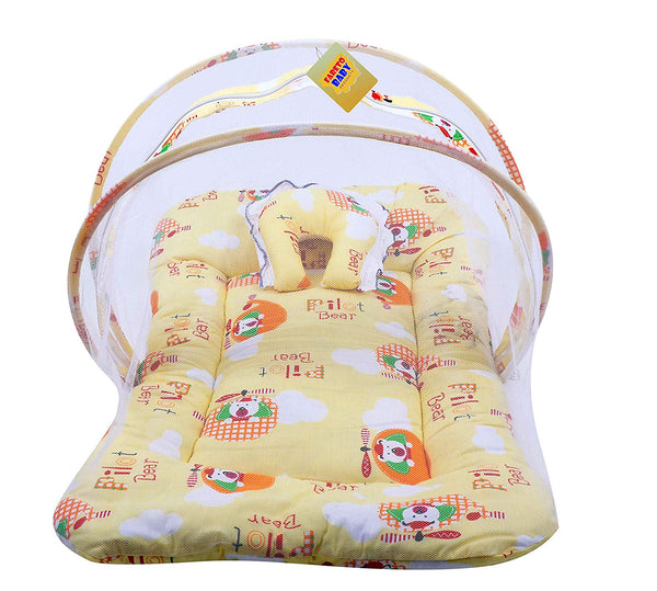 FARETO New Born Baby Mattress with Mosquito Net & Sleeping Bag Combo (0-6 Months) (Yellow)