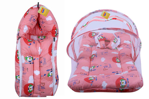 FARETO New Born Baby Mattress with Mosquito Net & Sleeping Bag Combo (0-6 Months) (Peach)