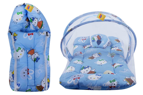 FARETO New Born Baby Teddy Print Mattress with Mosquito Net & Sleeping Bag Combo (0-6 Months) (Blue)