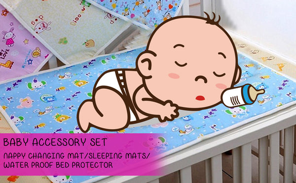 Fareto baby one sided cotton Changing Mat pack of 4pcs(Assorted)