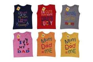Fareto Baby Cut Sleeves Coloured Mom & Dad Theme Tees Pack Of 6