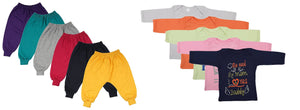 Fareto Combo Of Baby Rib Track Pants Pack of 6 & 5 Mom & Dad Theme Tees Unisex