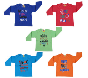 Fareto® Baby Boy's & Baby Girl's Mom & Dad Theme Hindi Quotes Combo of 5 Full Sleeves Printed T-Shirts/Tees/Daily Wear Tees/Regular Use Tees