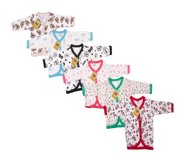 Fareto New Born Baby Combo of Hosiery Cotton Clothing Set 6 Front Open Full Sleeves Shirt/ 6 Front Open Cut Sleeves Vest(0-6 Months)(Total Item- 12Pcs)