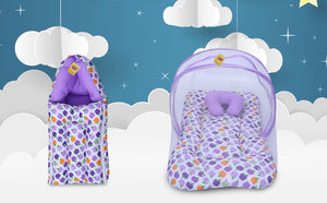 Fareto New Born Baby Gift Pack Combo of Baby Sleeping Bag & Mosquito Net Bed(PI: Apple)(0-6 Months) (Purple)