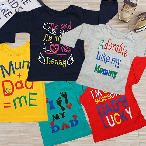 Fareto® Baby Mom & Dad Quotes Combo of 5 Full Sleeves Printed T-Shirts/Tees/Daily Wear Tees