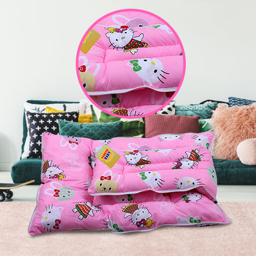 FARETO New Born Baby Teddy Print Mattress with Mosquito Net & Sleeping Bag Combo (0-6 Months) (Pink)