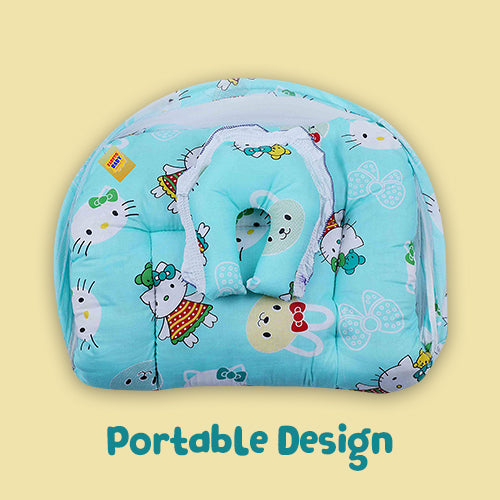FARETO New Born Baby Teddy Print Mattress with Mosquito Net & Sleeping Bag Combo (0-6 Months) (Pista Green)