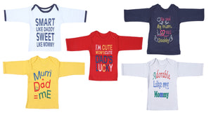 Fareto Baby Multi Colored Full Sleeves Mom & Dad Theme Tees Pack Of 5