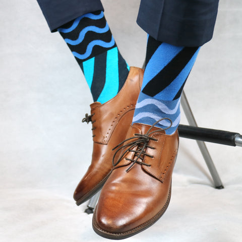 blue odd patterned socks
