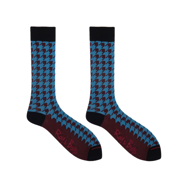 Houndstooth Teal Premium Socks