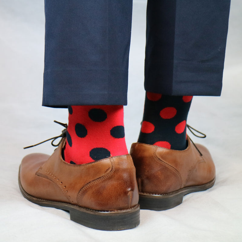 Red and Navy Blue Spotty Odd Socks