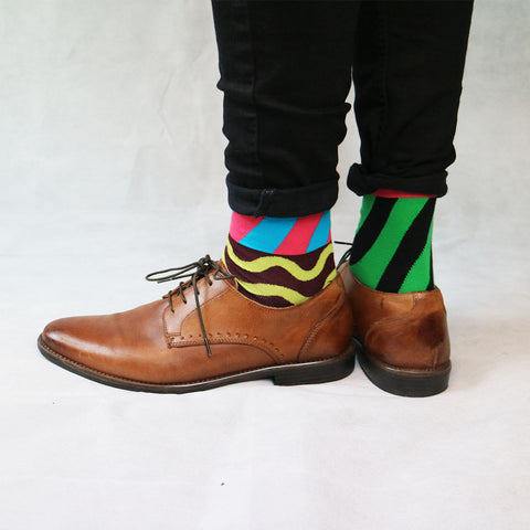 Multicoloured Striped Odd Sock