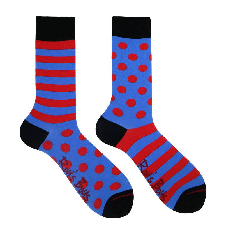 Red and blue spotty and striped Odd Sock