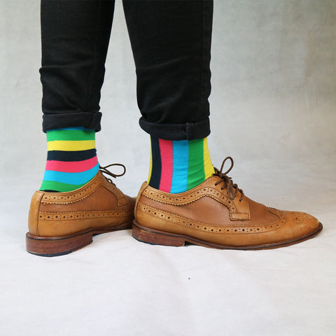 Multicoloured Striped Odd Socks