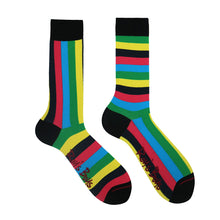 Red blue green yellow striped sock