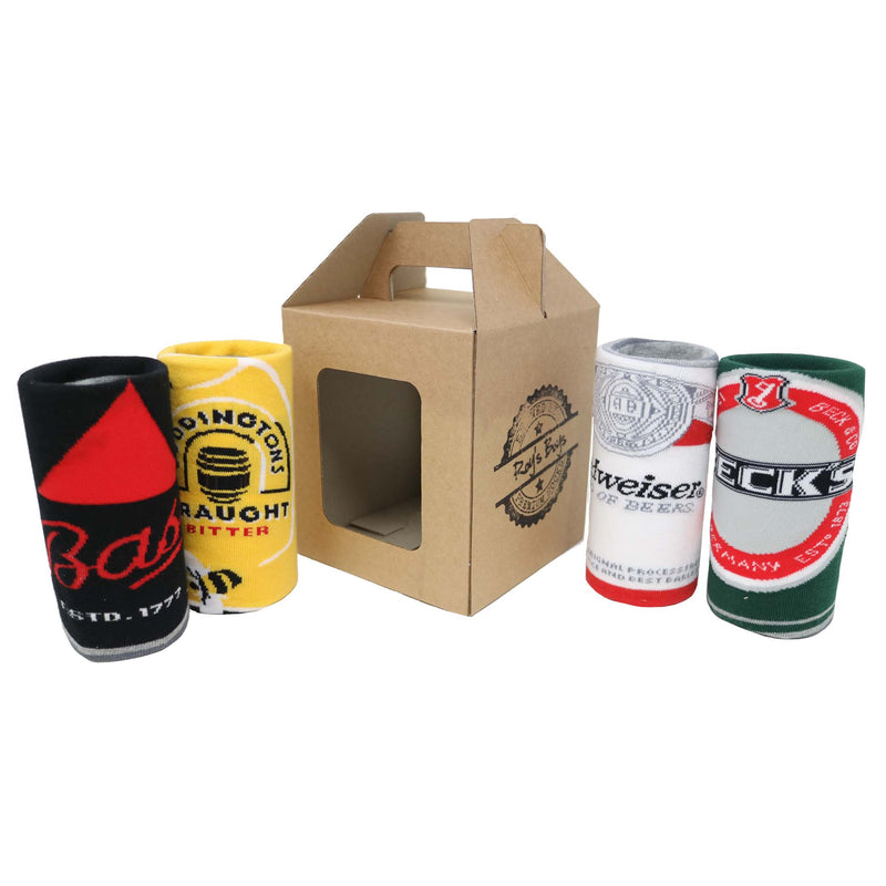Novelty Beer Can Socks 4 Pack Gift in Carrier