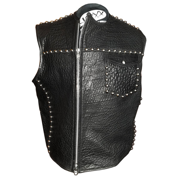 Leather Double Breasted Studded Vest