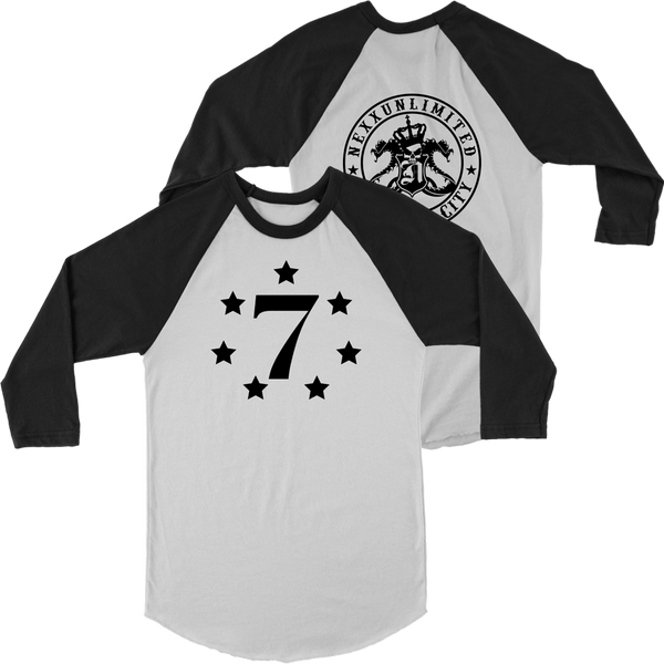 Long Sleeve Baseball T-Shirt -  Lucky 7 black