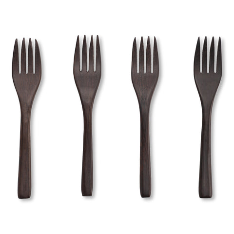 Ebony wood fork: 4stk.