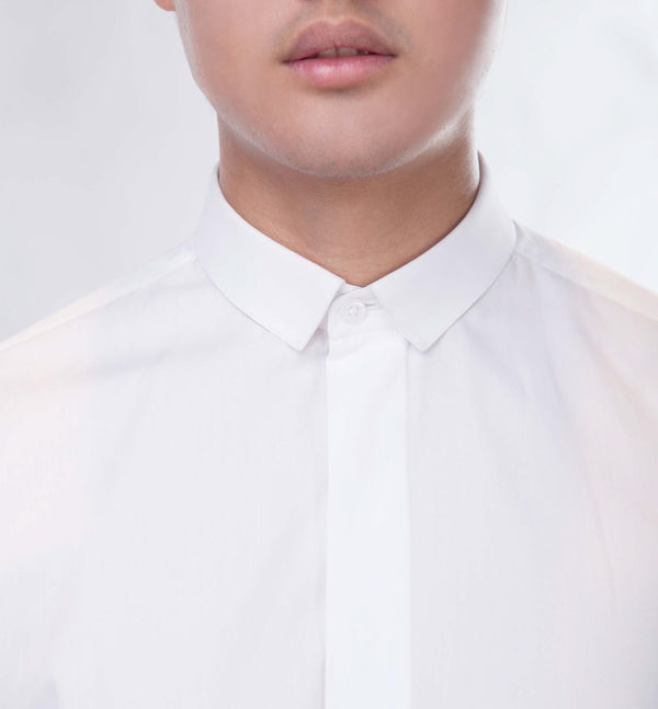 White mini collar shirt