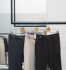 Navy wool - belt waist trousers
