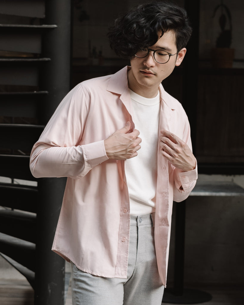 Pink - flowing long sleeve shirt