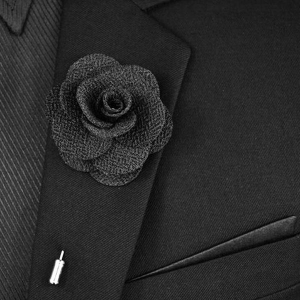 Men's rosebud lapel flower pin