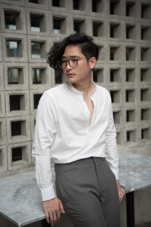 White - mandarin collar shirt