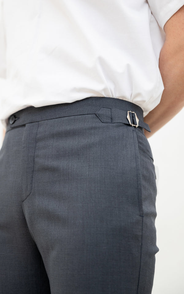 Hale Navy Wool - cashmere double belts trousers