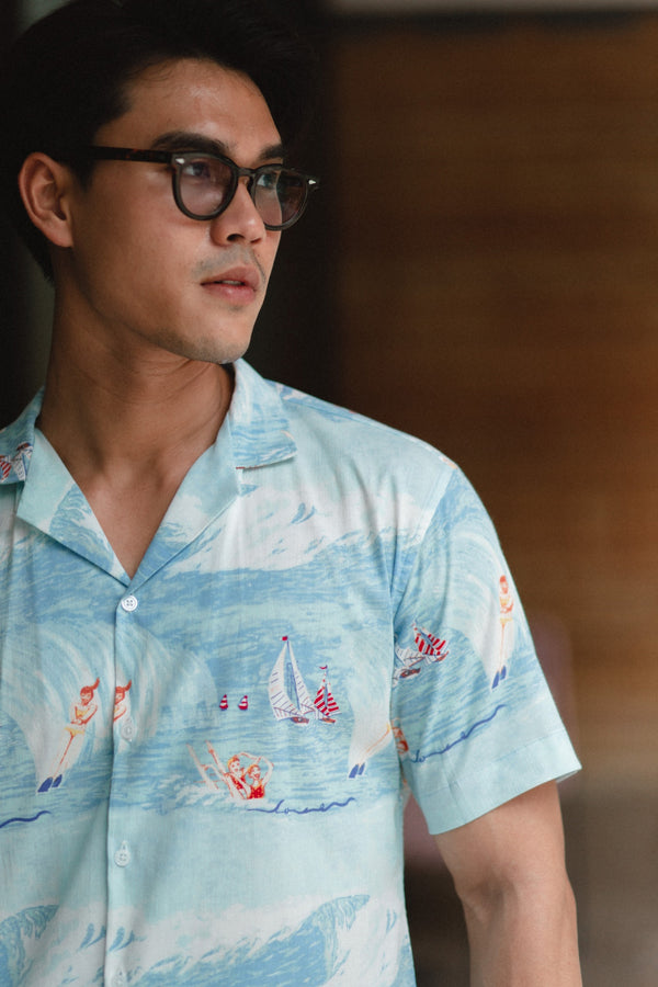 Blue - surfboard flowing short sleeve shirt