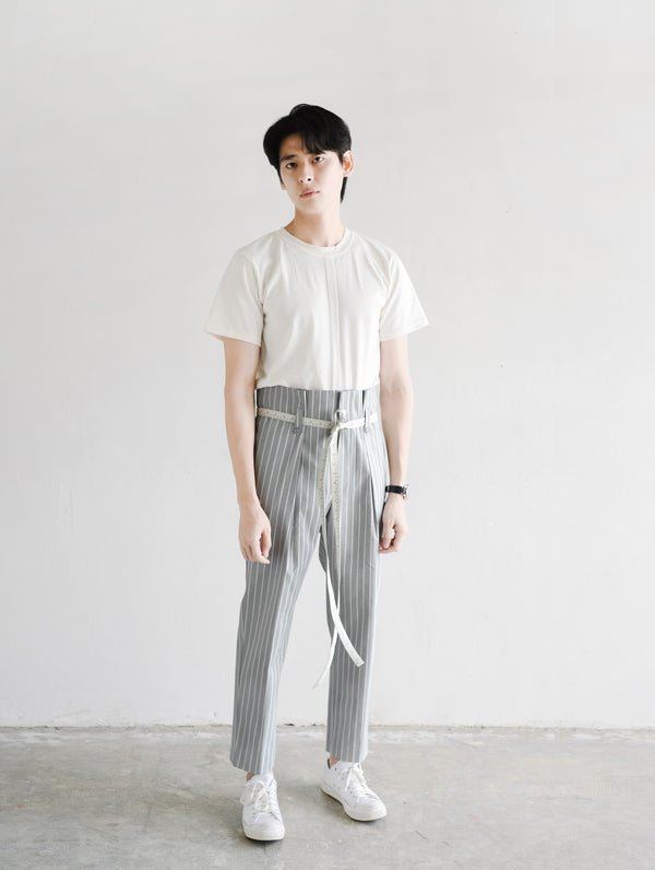 Grey stripe - high rise relaxed trousers