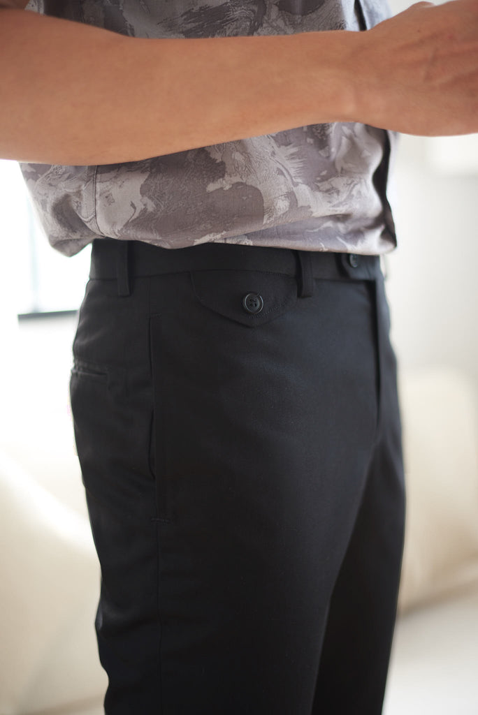 Black cotton tapered chinos