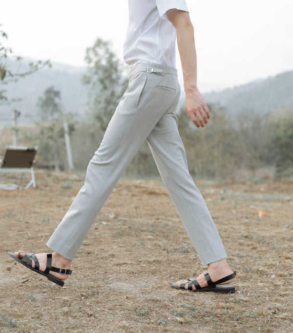 Light grey - Gegory double belts trousers