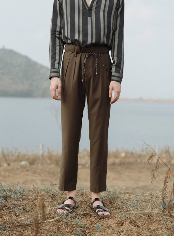 Olive green - Pleated trousers