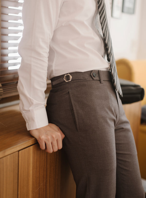 Grey - ridley double belt trousers