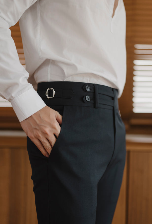 Navy - Melton double belts trousers