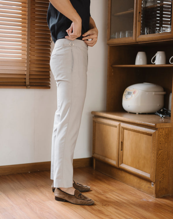 Light grey - textured double belts trousers