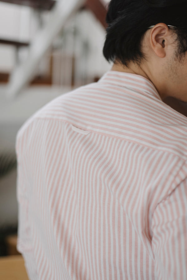 Pink stripe mao collar shirt