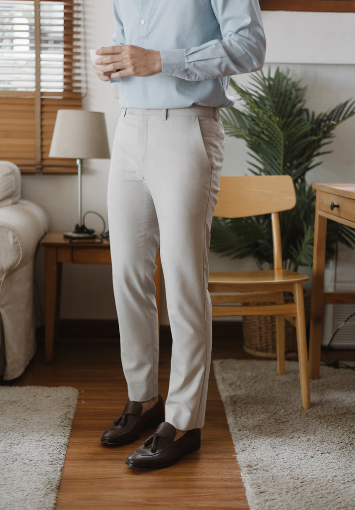 Light grey - textured tailored trousers
