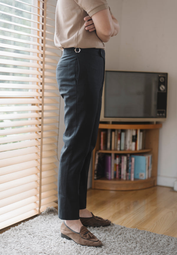 Dark Navy - linen arc double belts trousers