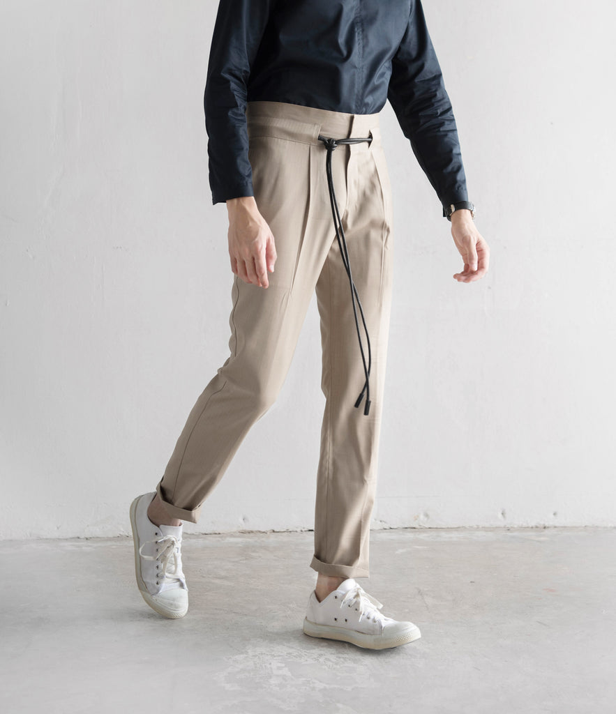 Beige - Glossy stripe trousers
