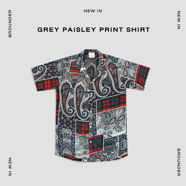 Grey - Paisley print shirt