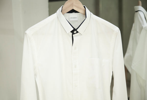 White with navy trim shirt