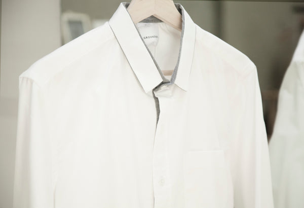 White with grey trim shirt